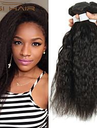 3 faisceaux Kinky cheveux humains brazilian non transformés brazilian vierge armure de cheveux yaki de qualité supérieure droite droite