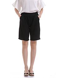 Mulheres Calças Trabalho / Casual Shorts Poliéster Sem Elasticidade Mulheres