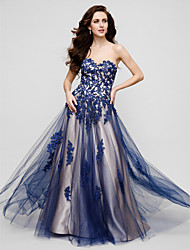 Formal Evening Dress - Ink Blue Plus Sizes / Petite A-line Sweetheart Floor-length Tulle