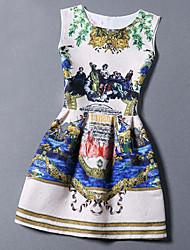 Summer Women Slim Retro Print Sleeveless Dress