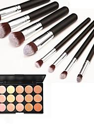 8pcs poignée argent noir cosmétique de maquillage brosse ensemble&15 couleurs anticernes naturelle (2 cache-cernes de couleur choisir)