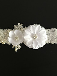 Garter Lace Flower / Imitation Pearl Ivory