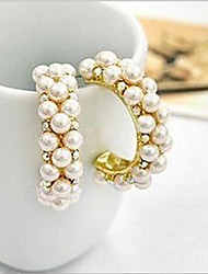 Stud Earrings Hoop Earrings Pearl Imitation Pearl Cubic Zirconia Simulated Diamond Alloy Screen Color Jewelry 2pcs