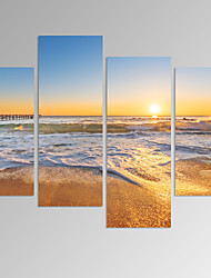 VISUAL STAR®Beach Seascape Picture Print on Canvas Sunrise on Sea Artwork Ready to Hang