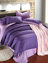 Purple and light purple 100% Tencel Soft Bedding Sets Queen King Size Solid color Duvet Cover Set