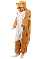 Kigurumi Pajamas Bear Raccoon Leotard/Onesie Festival/Holiday Animal Sleepwear Halloween Orange Patchwork Polar Fleece Kigurumi For Unisex
