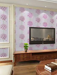 Contemporary Wallpaper Art Deco 3D Pink Flower Wallpaper Wall Covering PVC/Vinyl Fabric Wall Art