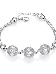 Lureme® Shiny Charming Planet Beads Silver Plated Snake Bracelets for Women