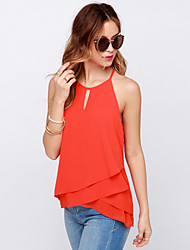 Women's Solid Red T-shirt,Halter Sleeveless