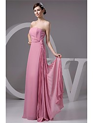 Floor-length Chiffon Bridesmaid Dress A-line Strapless with Bow(s)