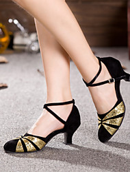 Non Customizable Women's Dance Shoes Latin / Salsa Flocking Flared Heel