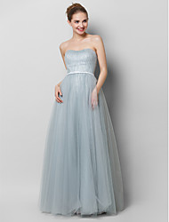 A-Line Strapless Floor Length Lace Tulle Prom Formal Evening Dress with Draping Lace by TS Couture®