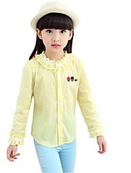 Girl's Cotton Spring Embroidery Pattern Fashion  All-match Lace Collar Shirt
