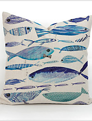 Colourful Geometric Fish Animal Printed Cotton Linen Pillow Case Home Pillowcase Cover Decorative Square Gift 4colors