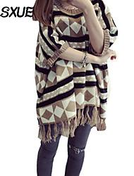 Damen Standard Mantel / Capes Boho Einfarbig Schwarz / Braun Rundhalsausschnitt ¾-Arm Acryl Alle Saisons Mittel Mikro-elastisch