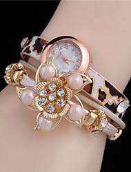 Mujer Reloj de Moda Reloj Pulsera Cuarzo Piel Banda Flor Leopardo Perlas Elegantes Negro Blanco Morado Amarillo Color Beige