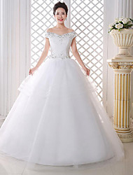 A-line Wedding Dress Floor-length Off-the-shoulder Lace / Satin with Lace / Pattern