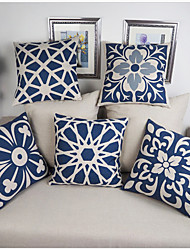 Cotton Linen Pillow Case Blue and white porcelain Retro Home Decorative Blended Crown Throw Comfortable Back