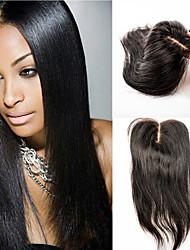 волосы шнуровке человек прямой девственницей закрытие волос 12inch средней части закрытие волос