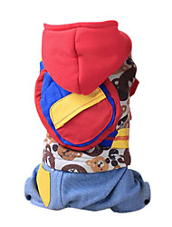 Dog Costume / Hoodie / Outfits / Clothes/Jumpsuit Red / Brown Dog Clothes Winter Cartoon Fashion / Cosplay / Halloween