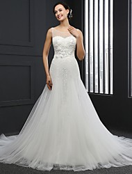 A-line Wedding Dress Chapel Train Jewel Tulle with Beading