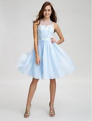 Knee-length Chiffon / Tulle Bridesmaid Dress A-line Jewel
