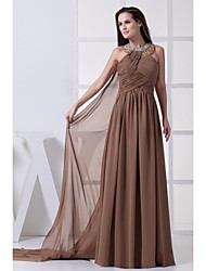 Lanting Floor-length Chiffon Bridesmaid Dress - Brown Ball Gown Halter