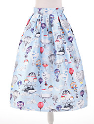 Women's Print Blue Skirts,Simple Knee-length