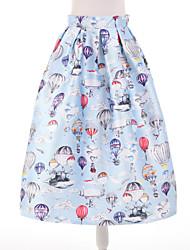 Women's Print Blue Skirts,Simple Knee-length