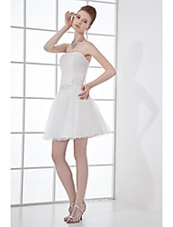 Lanting Bride® A-line Wedding Dress Short / Mini Strapless Tulle with Appliques / Beading / Sash / Ribbon