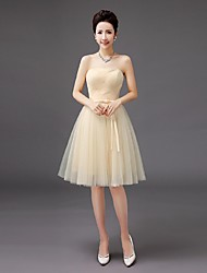 Knee-length Tulle Bridesmaid Dress - A-line Strapless with Bow(s)
