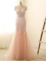 Sheath / Column Wedding Dress Floor-length Jewel Lace / Tulle with Appliques / Lace