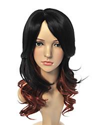moda perucas sintéticas misturadas estilo da onda da cor marrom preto perucas sintéticas