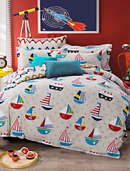 Boats 100% Cotton Bedclothes 4pcs Bedding Set Queen Size Duvet Cover Set