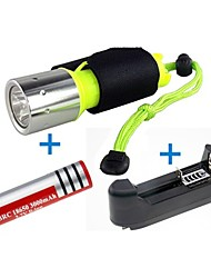 LS1779 2000 Lumens CREE XM-L2 T6 LED Diving Flashlight  Torch Light+ EU/US University Charger +18650 Battery