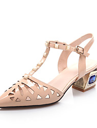 Women's Shoes Synthetic Spring / Summer Heels / Peep Toe Casual Chunky Heel Crystal White / Almond