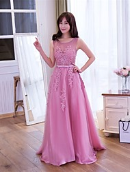Prom / Formal Evening Dress A-line Scoop Floor-length Lace / Tulle with Lace