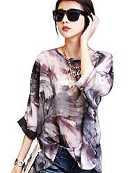 Women's Print Black Blouse,Cowl Long Sleeve