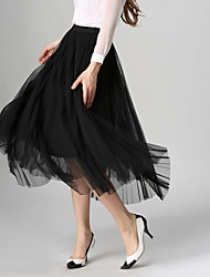 Women's New Style Fashion All Matches Grenadine Pleated Skirt Full-Skirted Dress Skirts Maxi Dresses