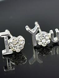Stud Earrings Brass Cubic Zirconia Fashion Screen Color Jewelry 2pcs