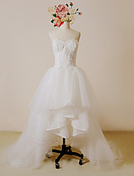 A-line Wedding Dress-Ivory Asymmetrical Sweetheart Lace / Satin / Tulle