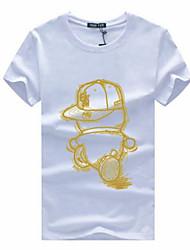 Masculino Camiseta Algodão Estampado Manga Curta Casual / Tamanhos Grandes-Preto / Azul / Branco / Cinza
