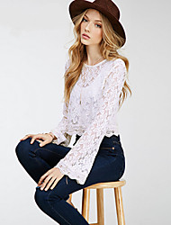 Women's Casual/Daily Sexy Spring Blouse,Patchwork Round Neck Long Sleeve White Cotton Opaque