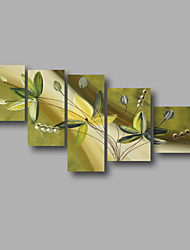 "Stretched (ready to hang) Hand-painted Oil Painting 64""x36"" Canvas Wall Art Modern Flowers Yellow Green"