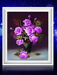 поделок 5d алмазов вышивки Пурпурная роза ваза магический куб круглый картины вышивки крестом наборы мозаики алмазов украшение дома