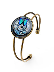Lureme® Simple Jewelry Time Gem Series Butterfly and Clock Disc Charm Open Bangle Bracelet for Women and Girl