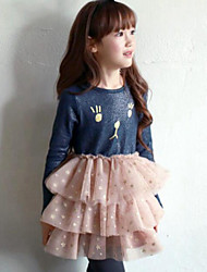 Girl's Blue / Pink Dress Spandex Spring / Fall
