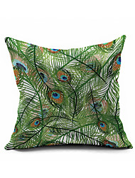Green Peafowl Pillow Cover , Modern/Contemporary Feathery Pillow Cushion