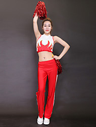Tenue(Rouge,Polyester,Costumes de Pom-Pom Girl)Costumes de Pom-Pom Girl- pourFemme Motif/Impression Spectacle Costumes de Pom-Pom Girl