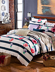 Red and purple flowers 100% Cotton Bedclothes 4pcs Bedding Set Queen Size Duvet Cover Set